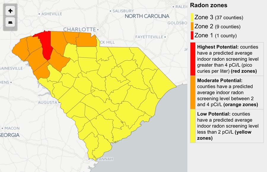 South Carolina Radon Map - Eagle Eye Inspections